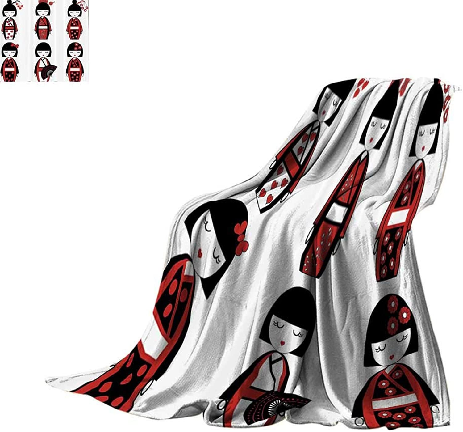 Cozy Flannel Blanket Girly Decor,Unique Asian Geisha Dolls in Folkloric Costumes Outfits and Hair Sticks Kimono Art Image,Black Red Blanket for Sofa Couch Bed Bed or Couch 60 x35