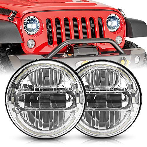SPL Ult 7' inch DOT Approved LED Round Headlights High/Low Beam With DRL Halo Compatible with Jeep Wrangler JK LJ CJ TJ 1997-2018 Headlamps Hummer H1 H2-2019 Replacement(Chrome Pair)