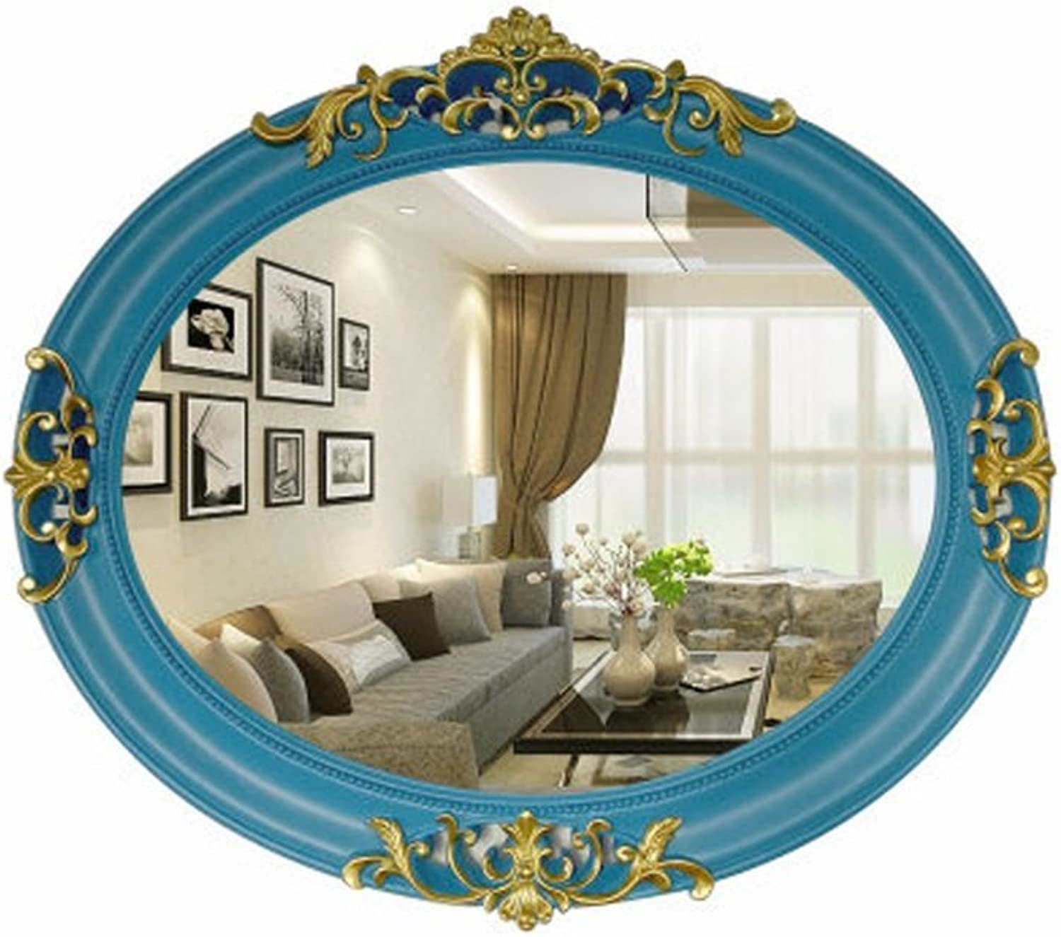 LXFMD European Mediterranean Style Oval Small Mirror Beauty Mirror Wall Hanging Decorative Mirror Bathroom Mirror Bathroom Mirror (color   Black gold)