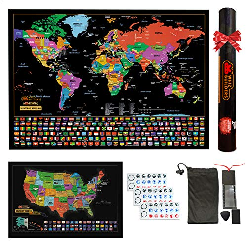 Scratch Off Map of The World : United States USA Scratchable Travel Wall Art , Large World Map Poster , Travel Tracker , US State & Country Flags , Memory Stickers Magnifier & Scratch Art Tool