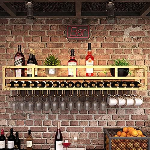 CDBL botellero Vino Botellero para Vinos Ligero Montado En La Pared, Estante para Exhibición fe Vasos para Bar, Gabinete para Vino, Soporte para Vino fe Pared para Restaurante Al Revés