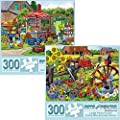 """Bits and Pieces - Set of Two (2) 300 Piece Jigsaw Puzzles for Adults - Each Puzzle Measures 18"""" X 24"""" - 300 pc Farm Scenes Jigsaws by Artist Nancy Wernersbach by Melville Direct"""