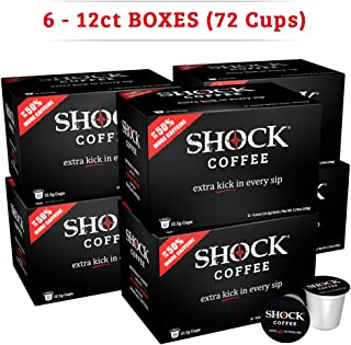Shock Coffee K-Cup. The Strongest Caffeinated All Natural K-Cup, Up to 50% more Caffeine than Regular Coffee, 72 count