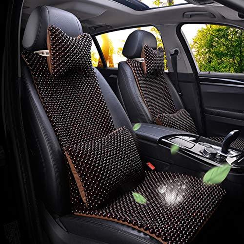 QDDP Sommer Auto Holz Perlen Kissen kompatibel mit Porsche 718 911 918 Boxster Cayman Macan Taycan Naturmaterial Autositzschutz Coole atmungsaktive Massage Komfort