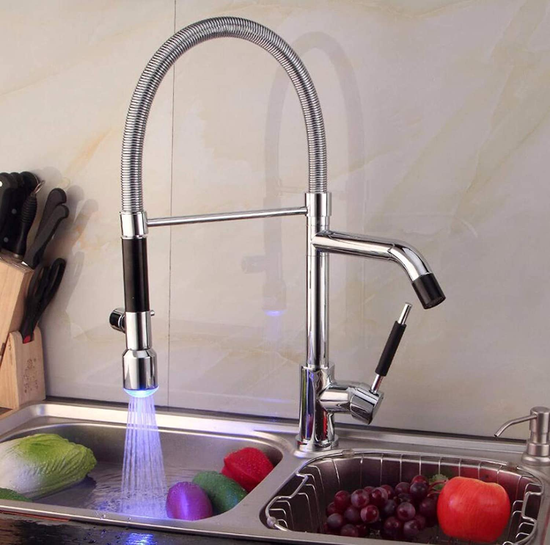 MulFaucet Küche Wasserhahn LED Spüle Wasserhahn Frühling Küche Wasserhahn Drehen Wasserhahn europisch amerikanisch Wasserhahn