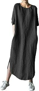 AUDATE Women's Plus Size Loose Cotton Linen Long Kaftan Dress with Pockets