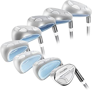 Women's Powerbilt Golf EX-550 Hybrid Iron Set, which Includes: #4, 5, 6, 7, 8, 9, PW +SW Lady Flex Right Handed New Utility L Flex Club
