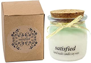 Feeke Natural Soy Wax Scented Candle, Pudding Bottle Jar Candle, Relaxing Scent & Long Lasting, Lemon & Basil Fragrance, Green