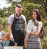 MoonWorks Koch-Schürze Grill-Schürze für Herren mit Spruch Mr Good Looking is Cooking Fliege schwarz Unisize - 2