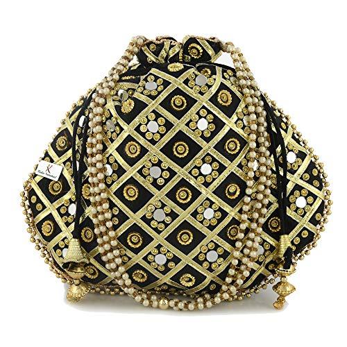 Kuber Industries 2 Pieces Silk Traditional Mirror Work Clutch Potli Batwa Pouch Hand Bag for Women/Girls (Black & Pink)-KUBMART11503, Standard