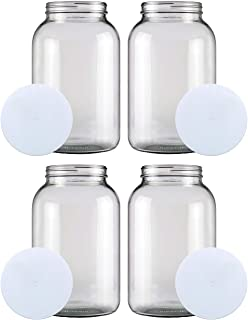 1-GALLON Glass Jar Wide Mouth (4 PACK) – MADE IN USA – 128oz Mason Jar with Lids – Used for Canning Fermenting Kombucha Ke...