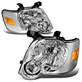 Pair of Chrome Housing Amber Corner Headlight Assembly Lamps Replacement for Ford Explorer/Sport Trac U251 06-10