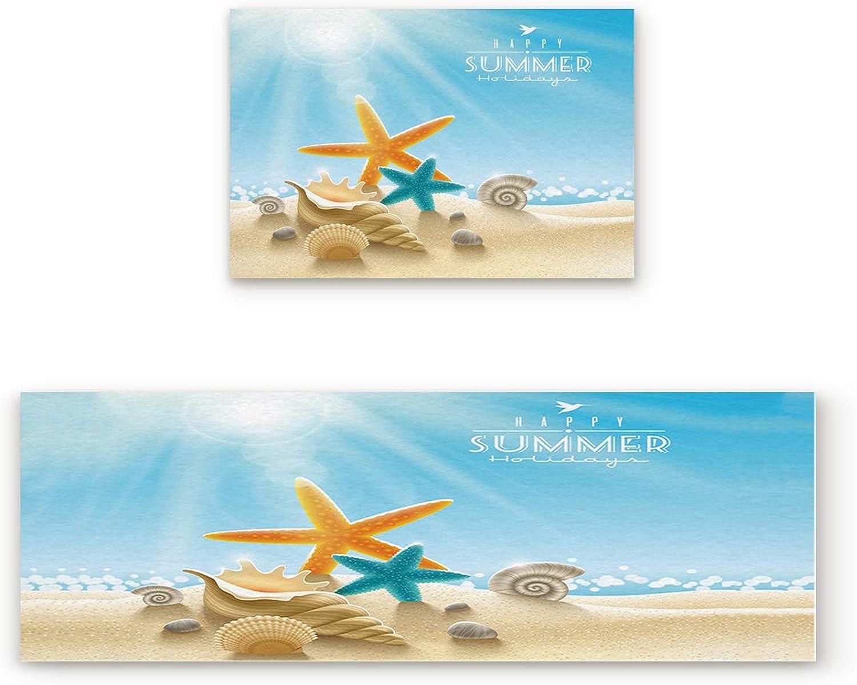 Greday Kitchen Rugs, Non Slip Mat Kitchen Rug Set 2 Piece Starfish Seashell Beach Theme Happy Summer 19.7 x31.5 +19.7 x63