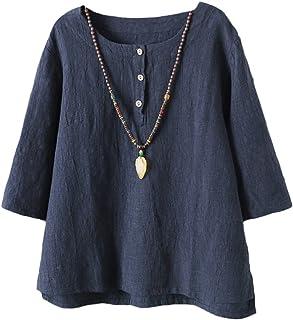fa29e53cd3f72 Vogstyle Femmes T-Shirts Coton Lin Chemise Chic Simple Haut Jacquard Tops  Tunique