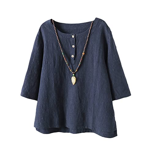 352a7af2c84 Vogstyle Women's New Cotton Linen Tunic Tee Shirt Jacquard Tops