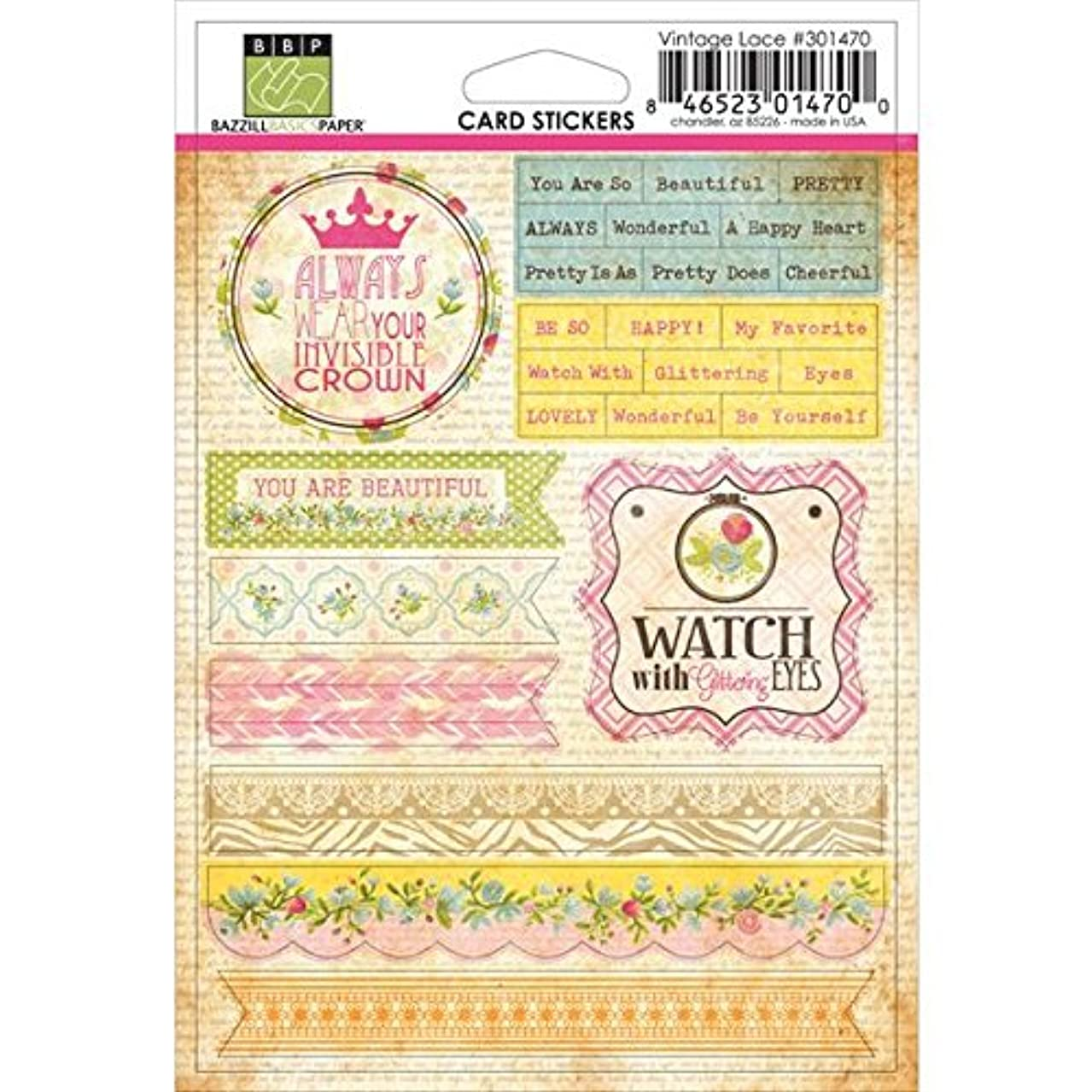 Bazzill 301470 Vintage Lace Card Sticker, 4 by 6-Inch