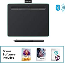 "$64 Get Wacom CTL4100WLE0 Intuos Wireless Graphics Drawing Tablet with 3 Bonus Software Included, 7.9"" x 6.3"", Black with Pistachio Accent (Renewed)"