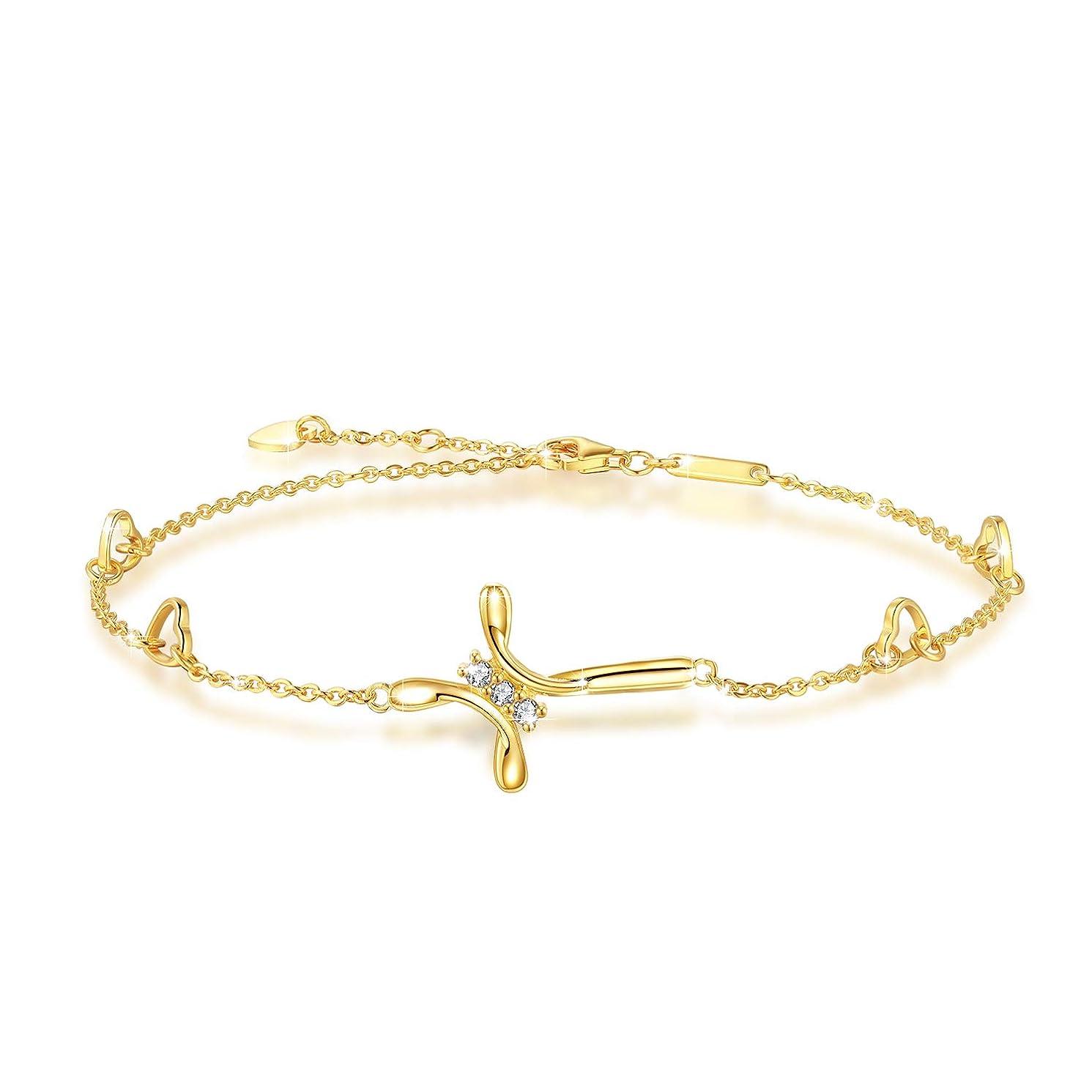 OneSight Cross Ankle Bracelet for Women, 925 Sterling Silver Charm Adjustable Foot Anklet, Large Cross Bracelet