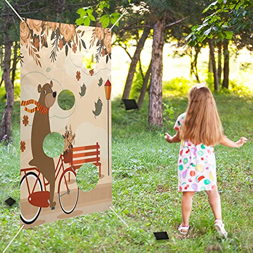 xigua Bear Bicycle Toss Games Banner with 6 Bean Bags, Kids Adults Teens Toss Game for Carnival Party Activities, Great Carnival Decorations