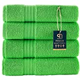 Qute Home 4-Piece Bath Towels Set, Bosporus Collection 100% Turkish Cotton Premium Quality Towels for Bathroom, Quick Dry Soft and Absorbent Turkish Towel, Set Includes 4 Bath Towels (Lawn Green)