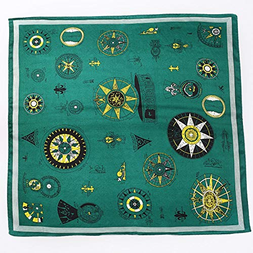 Zijde Women'S Sjaal Sjaal Vierkant Mode Zakdoek Groen Decoratieve Zijde Sjaal Gebonden Tas Vintage Elegante Temperament Eenvoudige Ademende Dun