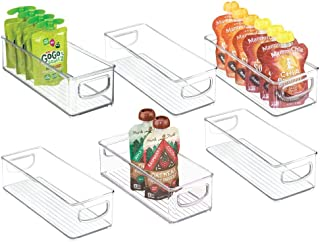 mDesign Stackable Plastic Kitchen Pantry Cabinet, Refrigerator or Freezer Food Storage Bins with Handles - Organizer for F...