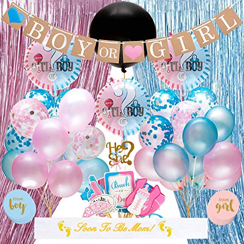 Baby Gender Reveal Party Supplies Kit - Baby Shower Decorations, Big Black Balloon, Cake Topper, Blue Pink Curtains Balloons, Confetti, Photo Booth backdrop Props, Boy Or Girl Banner, Gender Reveal Stickers, Baby Party Decor And Favors