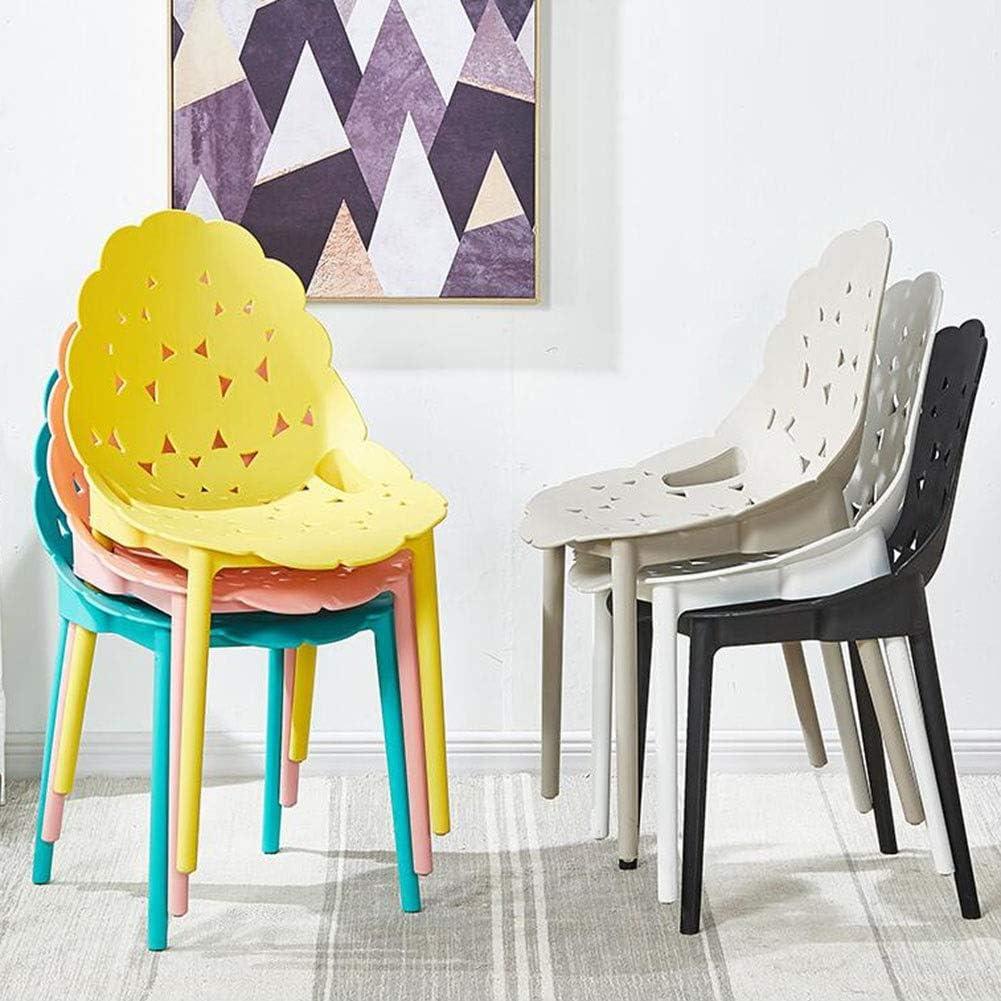 DALL Chaise De Salle À Manger Modern Home Empilable Plastique Chaise De Dossier Loisirs Nordiques Chaise De Café Hauteur D'assise 47cm (Color : Gray) Yellow
