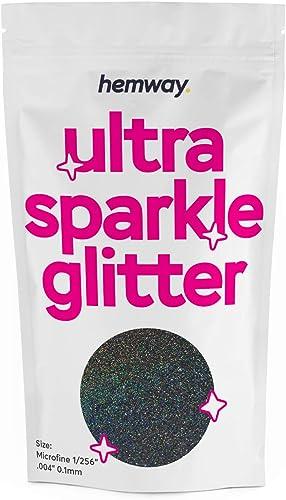 "Hemway Black Holographic MICROFINE Premium Multi Purpose Glitter 1/256"" .004"" 0.1mm 100 microns Dust/Powder 100g for ..."