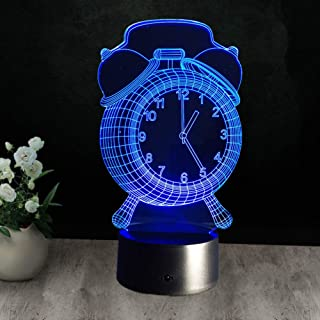 目覚まし時計ランプ3Dビジュアルledナイトライト用キッズタッチボタンusbデスクランパラのほかにライトベビースリーピングランプ家の装飾、7色タッチ