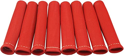 JDMSPEED 8 Red 1200° Spark Plug Wire Boots Heat Shield Protector Sleeve SBC BBC 350 454