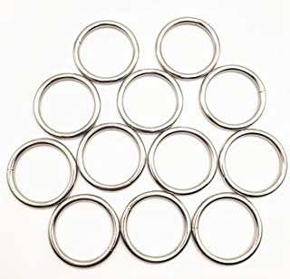 """12 Pack 2"""" Welded O-Ring Nickel Plate Steel Rings Multi-Purpose Metal O Ring for Macrame, Camping Belt, Dog Leashes, Light..."""