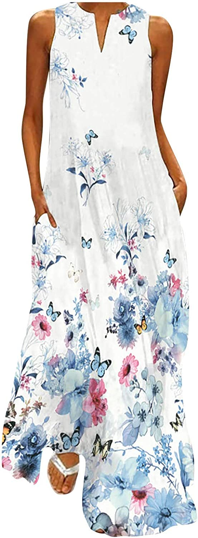 Tavorpt Summer Dresses for Women,Women's Casual Sleeveless Maxi Long Dress A-line Loose Beach Party Sundress Boho Dress