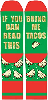 If You Can Read This Bring Me Tacos Wine Beer Unisex Novelty Socks Hallmark Movies Christmas Socks Best Gift For Men Women