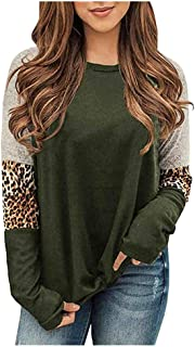 Eoeth Womens Stitching Leopard Long Sleeves T-Shirts Loose Block Pullovers Tops Blouse Shirts Sweatshirts Tracksuits