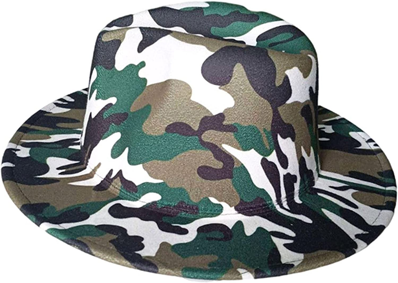 LULU99 Womens Leopard-Print Bucket Hat Felt Panama Wide Brim Jazz Hats Classic Fedora Unisex Foldable Floppy Sun Hats