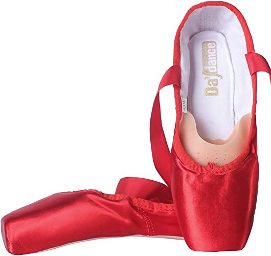 Daydance Ballet Pointe Shoes Girls Professional Satin Ribbon Ballet Shoes with Silicone Toe Pads