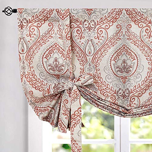 jinchan Tie Up Shade Curtains for Living Room 45 inches Long Damask Printed Paisley Rod Pocket Drapes Multicolor Medallion Flax Window Curtain 1 Panel Red
