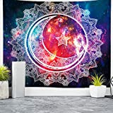 Nidoul Psychedelic Tapestry Wall Hanging, Boho Mandala Tapestry, Celestial Starry Sky Wall Tapestry, Wall Art Decoration for Bedroom Living Room Dorm, Window Curtain Picnic Mat, 59' X 51'