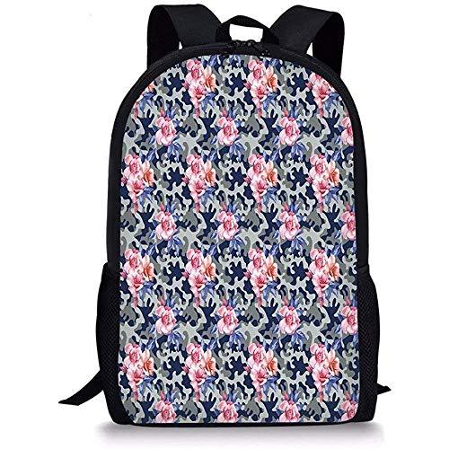 Hui-Shop Mochilas Escolares Camo, Tema Victoriano Rosa Diseño Retro Rosas Moda Urbana...