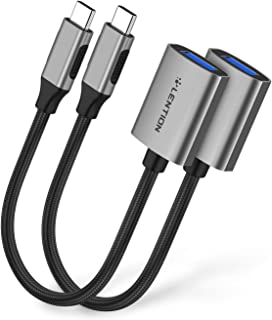 LENTION USB C to USB 3.0 Adapter [2-Pack], Thunderbolt 3 to USB 3.0 Adapter Compatible MacBook Pro (Thunderbolt 3 Port), New iPad Pro & Mac Air, Surface Book 2/Go, Chromebook 13/15, More (Space Gray)