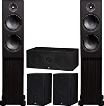 PSB Alpha Speakers Bundle: T20 Floorstanding (Pair), P3 Bookshelf (Pair), and C10 Center Channel in Black Ash