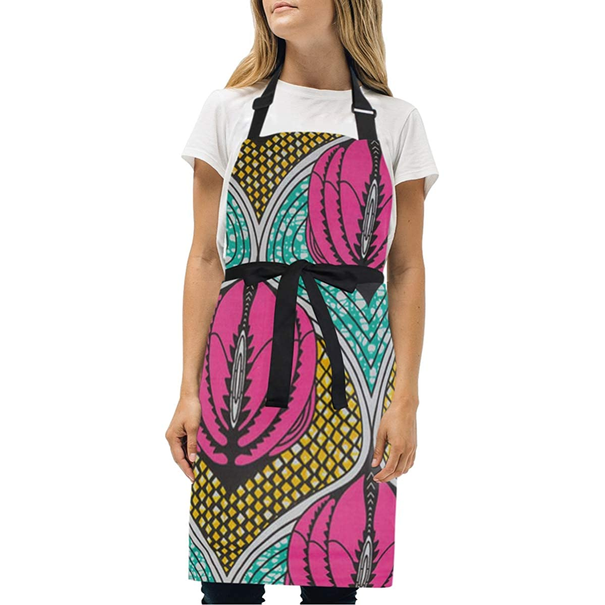 BeliveFinds Ankara Red Green Black Onion Adjustable Bib Apron with Pockets Cooking Kitchen Party Aprons