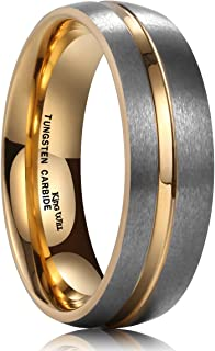 Loop Tungsten Carbide Wedding Ring 7mm/8mm Rose Gold/Gold Line Grooved Flat/Dome Style