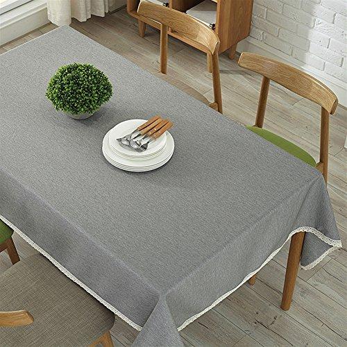 Ommda Moderno Mantel Antimanchas Rectangular Mantel Lavable con Borde de Encaje para Diseño de Comedor Jardin Cocina 100x140cm Gris