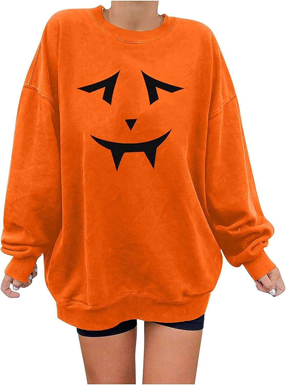 Women's Casual Fashion Long Sleeve Sweatshirt Halloween Print Round Neck Tops Blouses