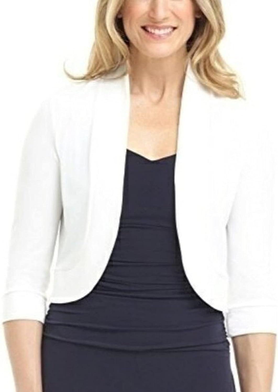 Women Open Front Short Shrugs 3/4 Sleeve Cropped Cardigans Shrugs Shawl Crop Top Bolero Shrugs for Spring Fall (White, XX-Large)