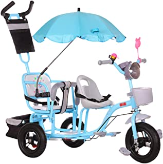 Jixi Double Children's Tricycle Twin Stroller Second Child Three-Wheeled Bicycle Infant Stroller Large Adjustable Stroller (Color : Blue)