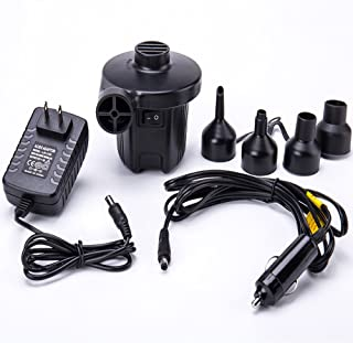 FMS Electric Air Pump 12V DC/ 100-240V AC with 4 Nozzles Portable Quick-Full Inflator/Deflator Air Pump for Outdoor Camping, Air Mattress Bed, Cushion, Inflatable Boat and Other Inflatable Products
