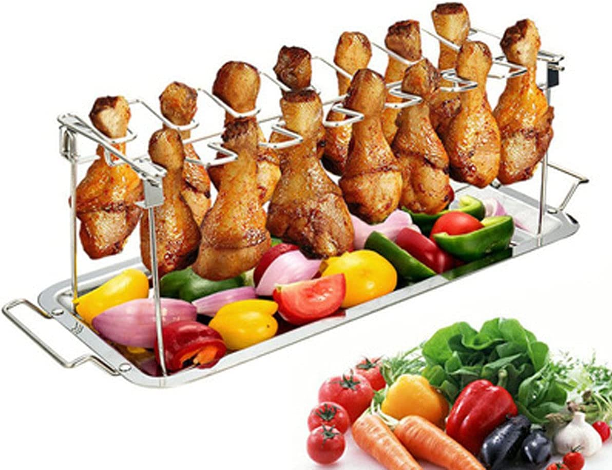 Chicken Leg & Wing Rack,14 Slots Stainless Steel Vertical Roaster Stand & Drip Pan for Smoker Grill or Oven,Great for BBQ, Picnic